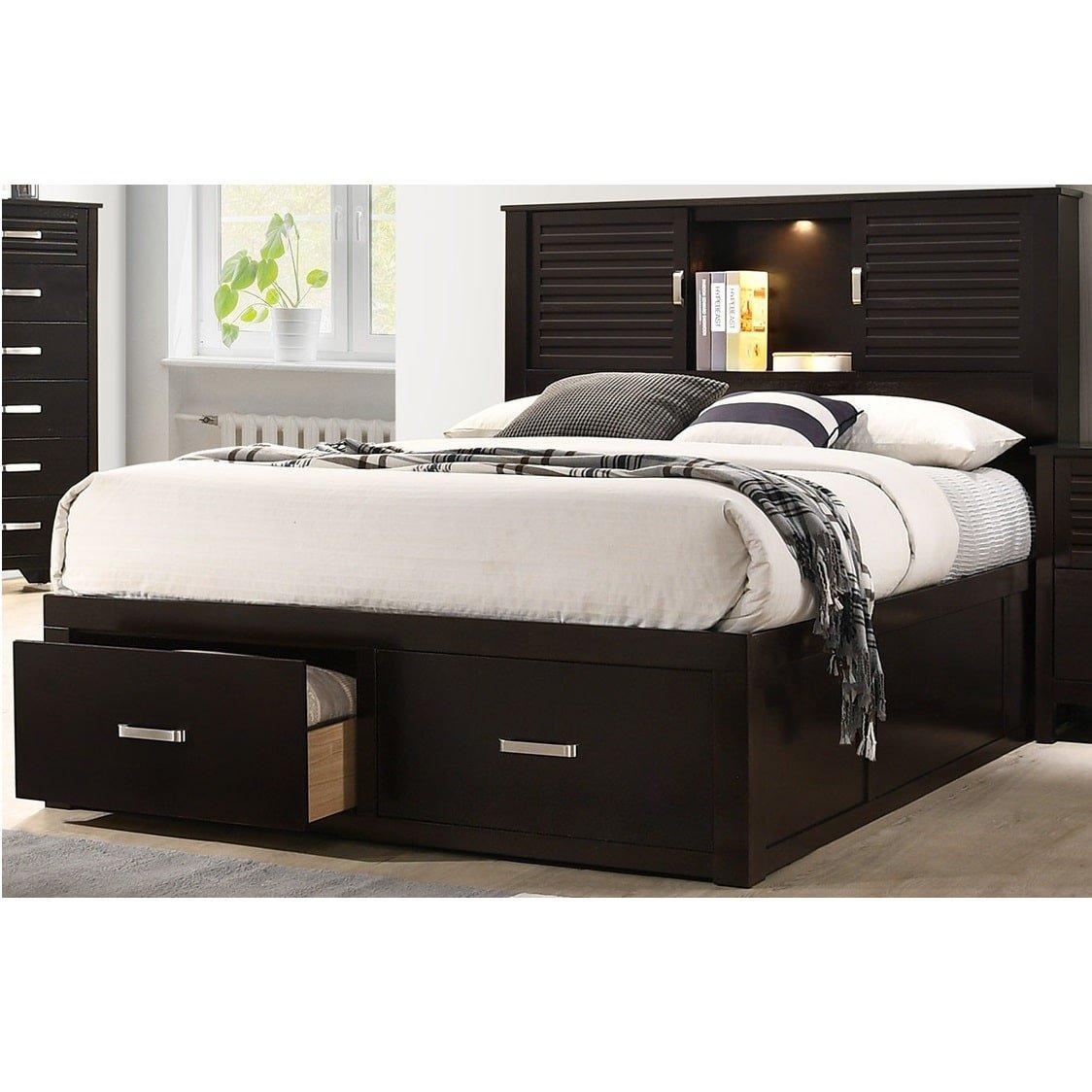 5 piece dalton queen bed only w woodhaven pillow top plush mattress