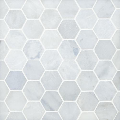 blue forest hexagon polished marble