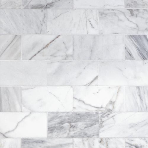 ocean white polished marble tile 6 x
