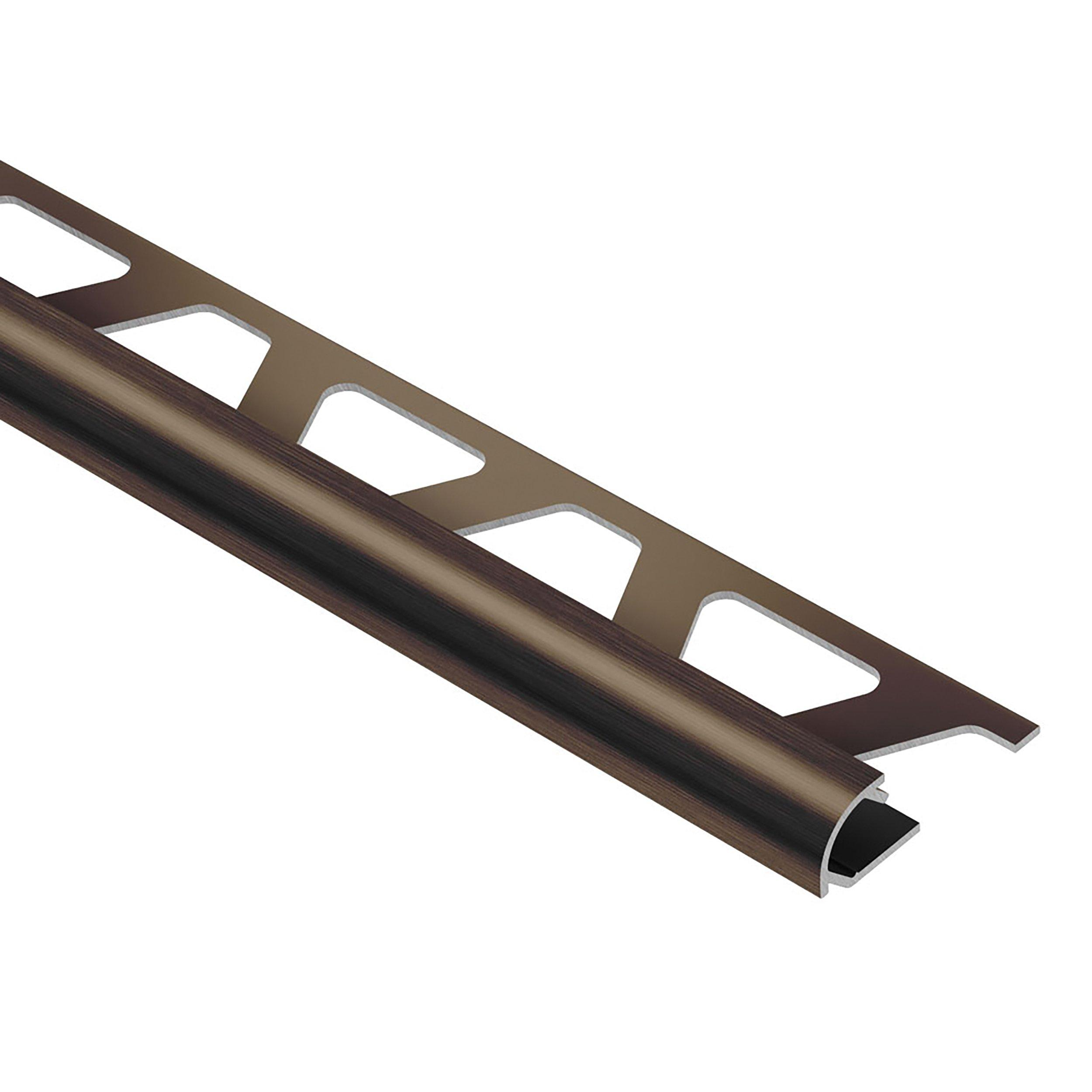 schluter rondec bullnose edge trim 1 2in in brushed antique bronze anodized aluminum