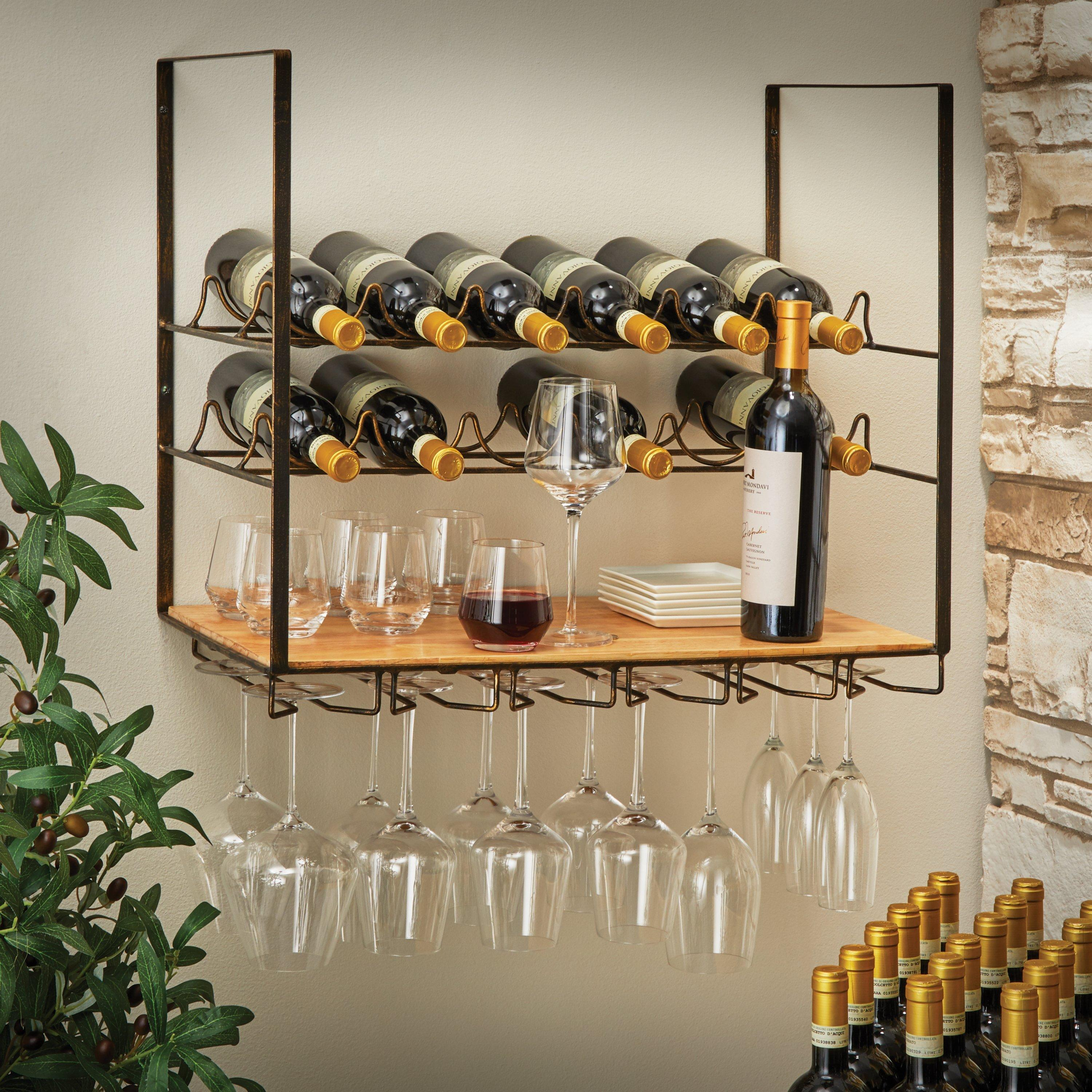 wall mounted wine rack with glass