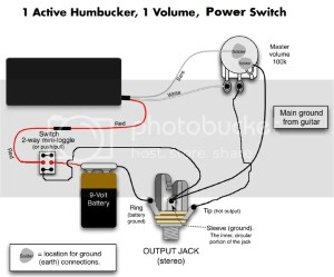 Wiring diagram for 1 humbucker  1 volume pot  1