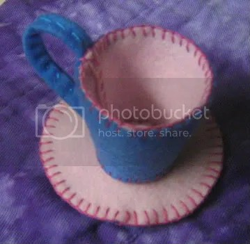 Felt tea cup and saucer