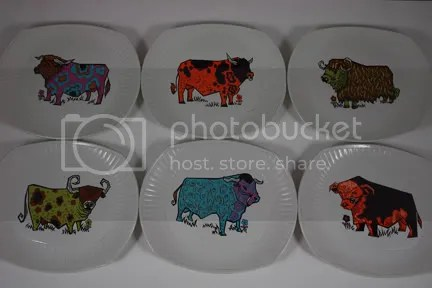 Vintage Beefeater steak plates by Washington Pottery
