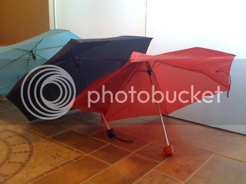 The non-native Oregonians and their umbrellas.