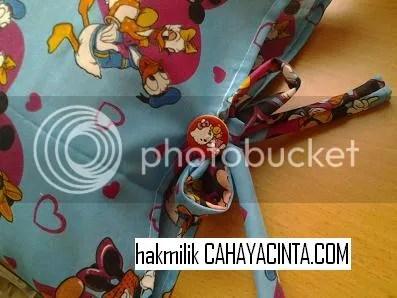 Hias tali kita buat ikat bentuk raben..
