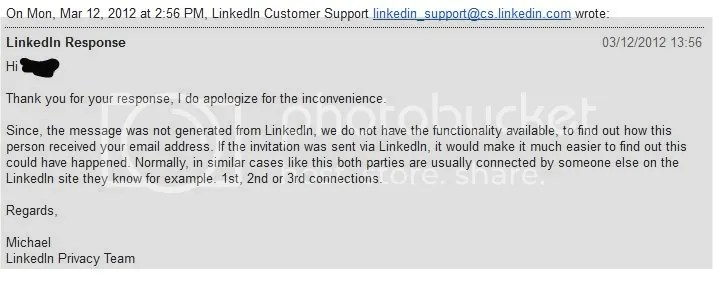 Canned LinkedIn response