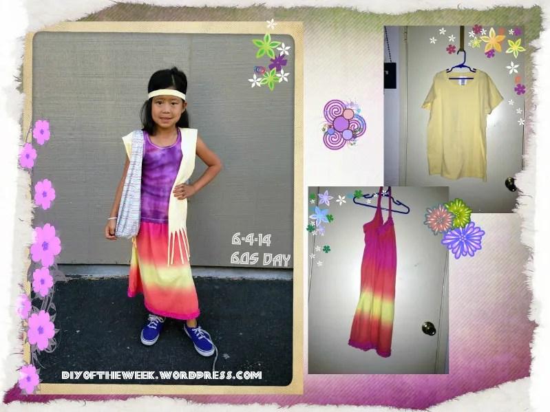 60's decades week - diy tie dye skirt, diy tshirt fringe vest