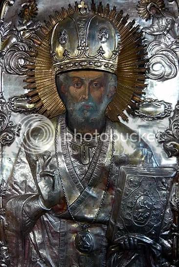 icoana din 1901 a Sf. Ierarh Nicolae, protectorul Bisericii Manastirii Comana