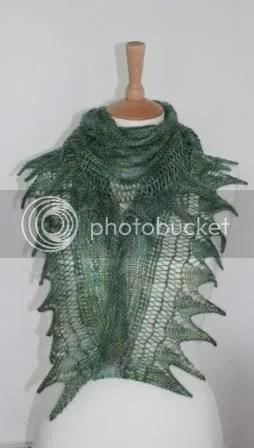 shark tooth shawl 4ply merino tencel