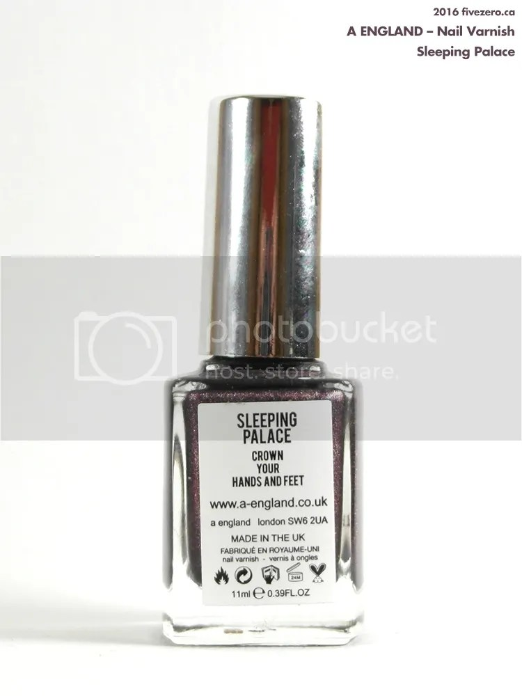 A England Nail Varnish in Sleeping Palace, label