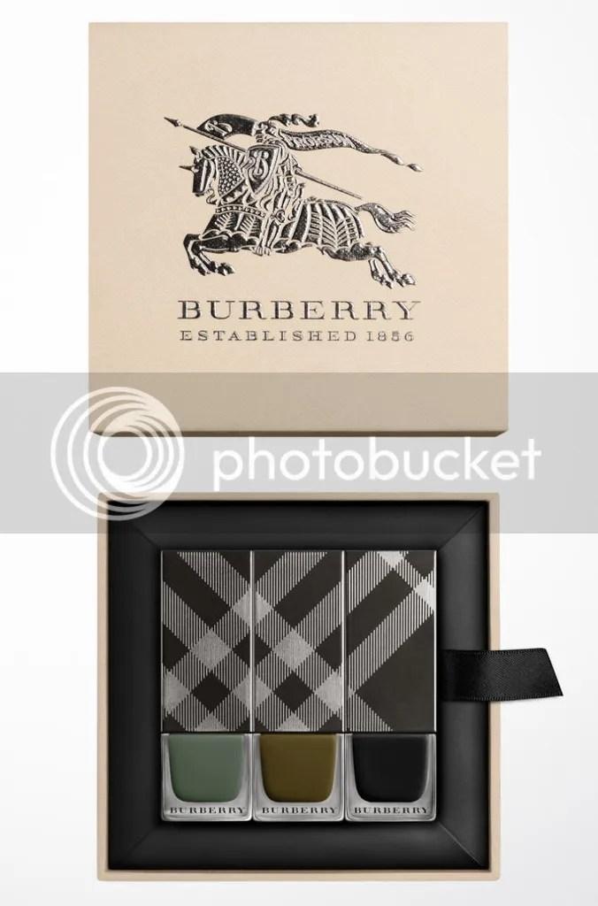 Burberry Autumn/Winter 2015 Nail Polish Runway Collection, Cadet Green, Khaki Green, Poppy Black, gift box