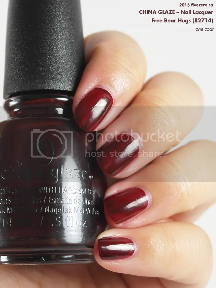 China Glaze Nail Lacquer in Free Bear Hugs, swatch, 1 coat