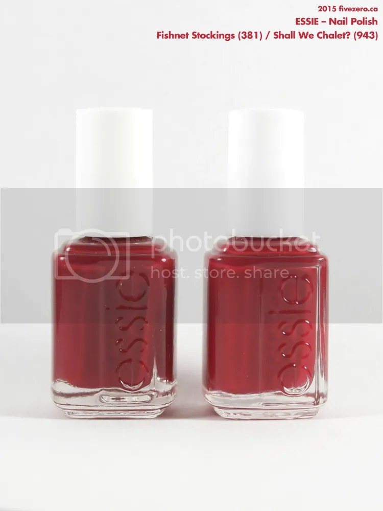 Comparison, Essie Fishnet Stockings, Shall We Chalet?, bottles