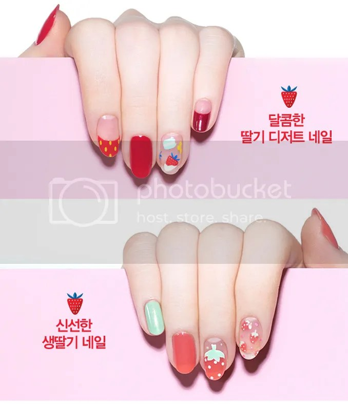 Etude House Berry Delicious, 2016 Collection with Strawberry Souffle Nail Polish Art