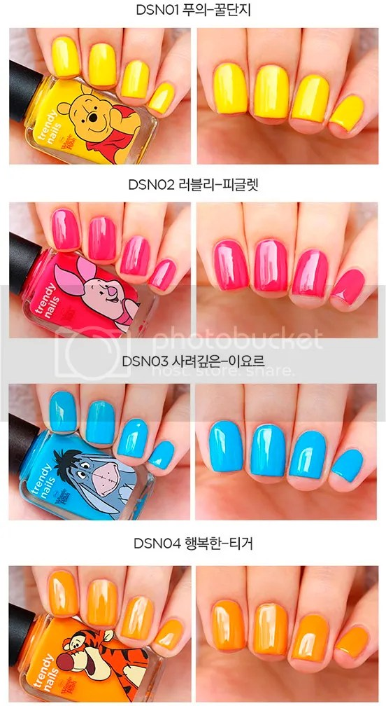 The Face Shop Trendy Nails & nail art set Disney Winnie-the-Pooh, Summer 2016, swatches