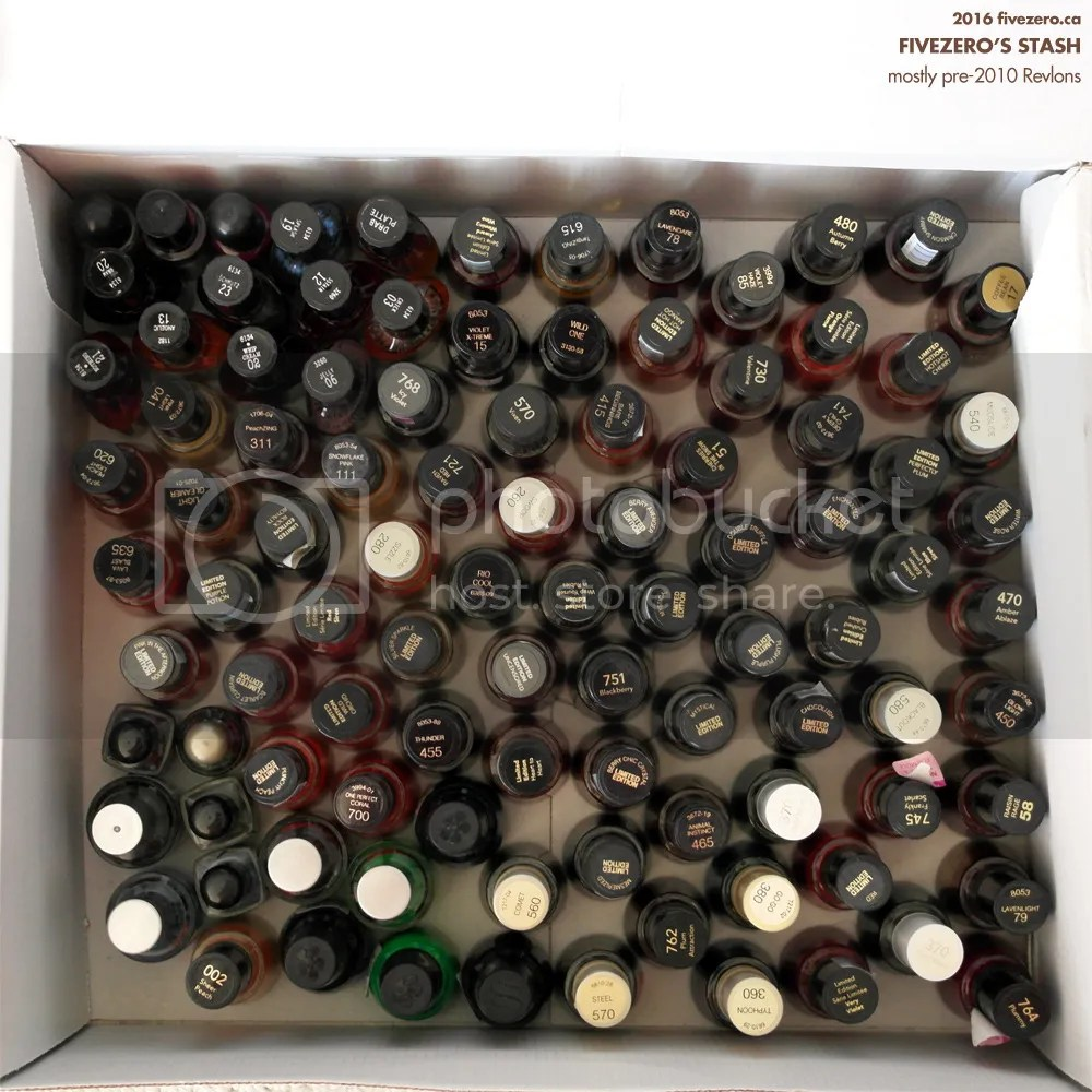 fivezero's drugstore nail polish stash, mostly Revlon