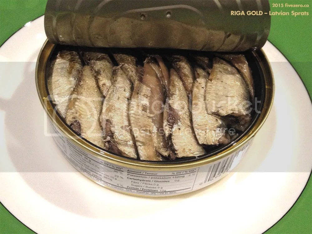 Riga Gold canned sprats on a plate
