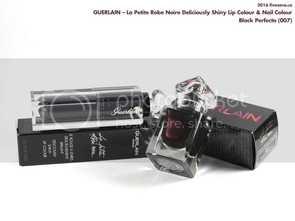 Guerlain La Petite Robe Noire Deliciously Shiny Lip Colour & Nail Colour in Black Perfecto (007)