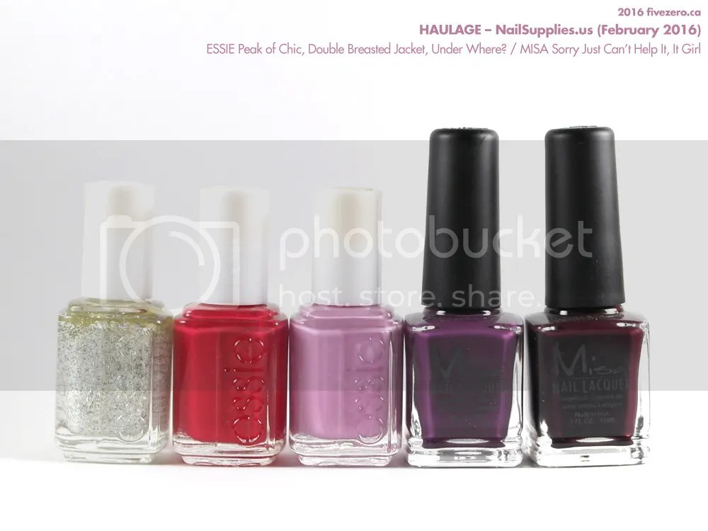 NailSupplies.us Haulage: ESSIE Peak of Chic, Double Breasted Jacket, Under Where? / MISA Sorry Just Can't Help It, It Girl