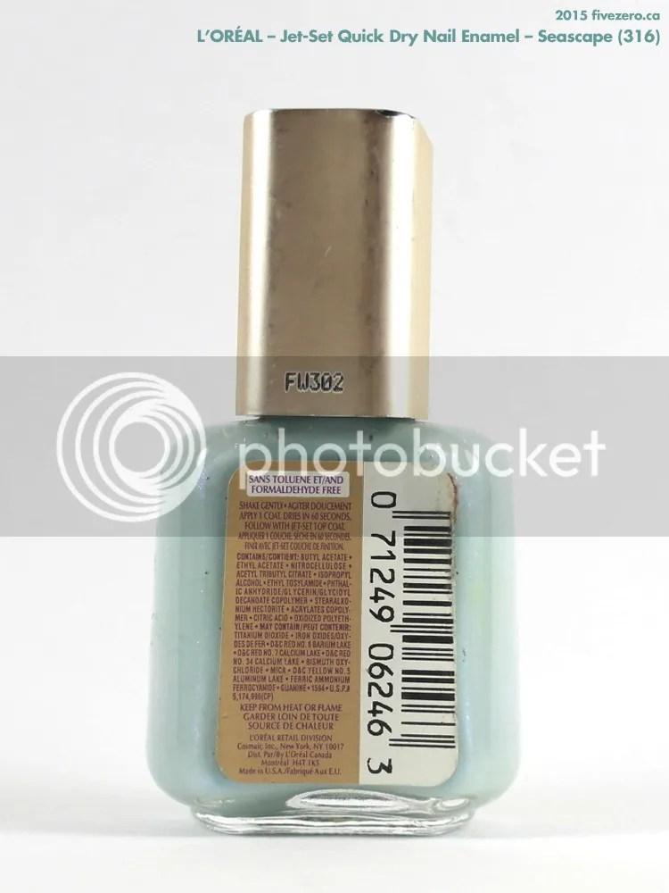 L'Oréal Jet-Set Quick Dry Nail Enamel in Seascape, ingredients