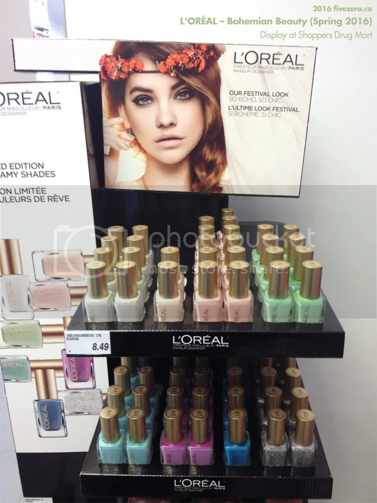 L'Oréal Bohemian Beauty Spring 2016 display at Shoppers Drug Mart, nail polish