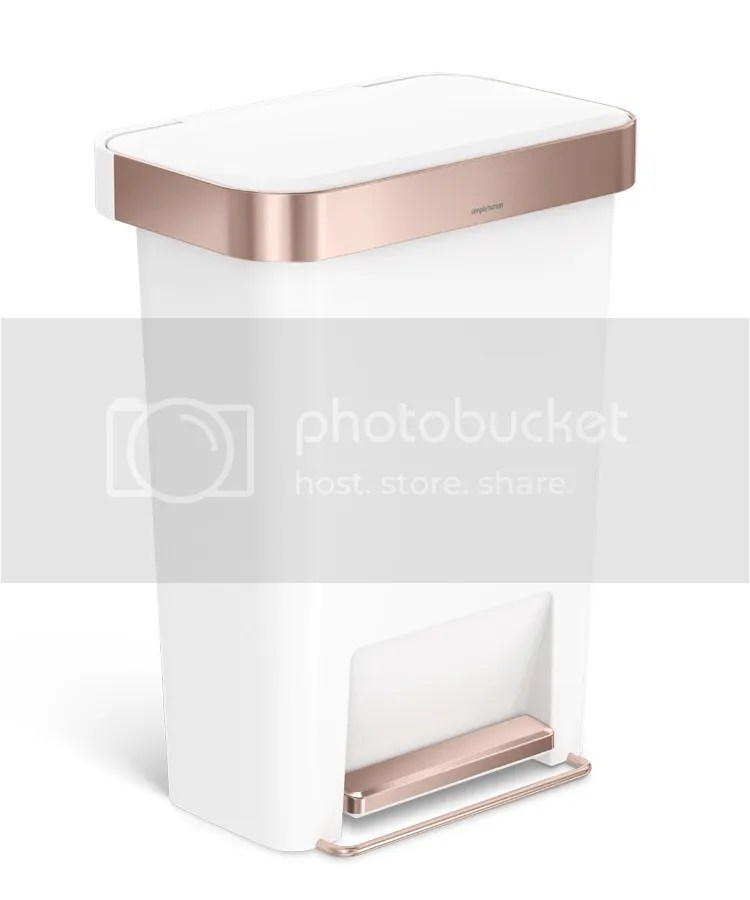 simplehuman Rectangular Step Can in Rose Gold
