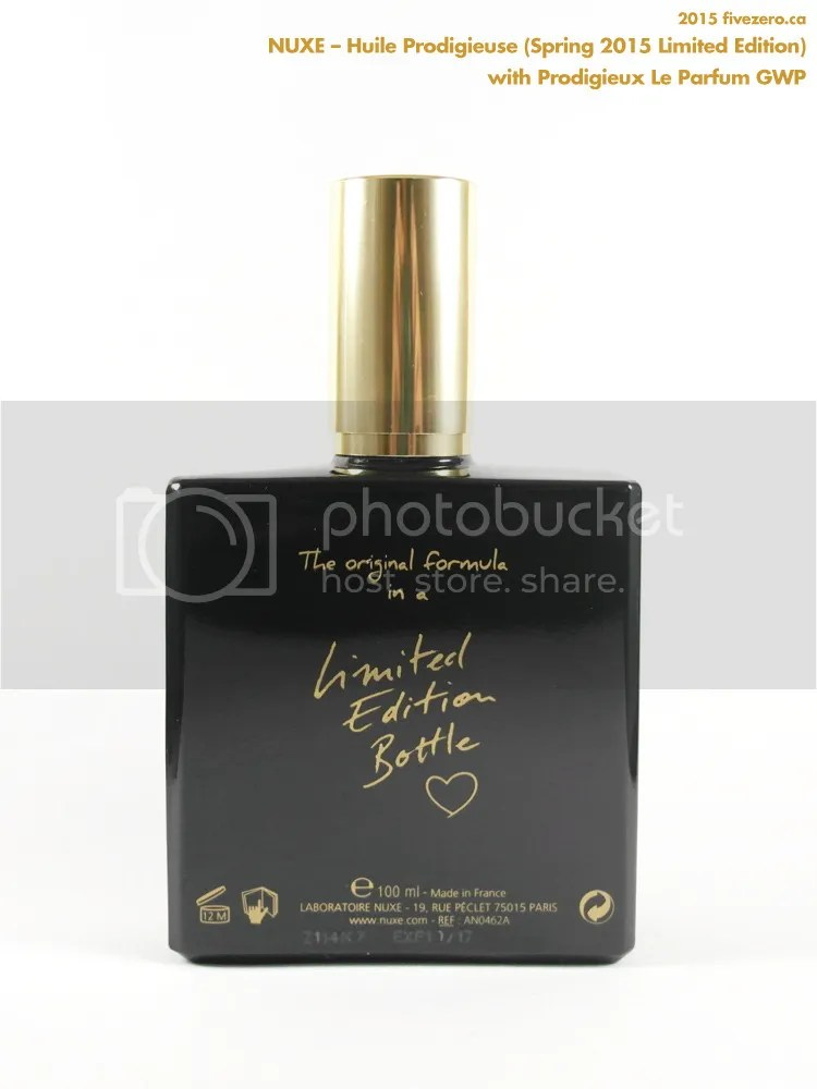 Nuxe Huile Prodigieuse Dry Oil, Limited Edition Spring 2015 Opaque Black Bottle, 100 mL, back