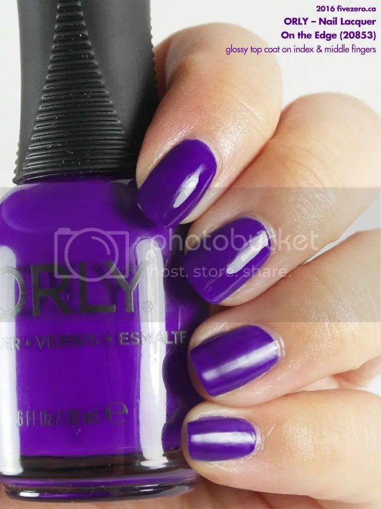 Orly Nail Lacquer in On the Edge, swatch, with glossy top coat