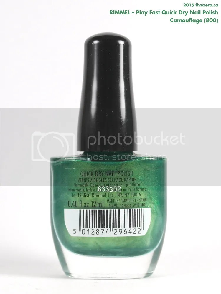 Rimmel Play Fast Quick Dry Nail Polish in Camouflage, label
