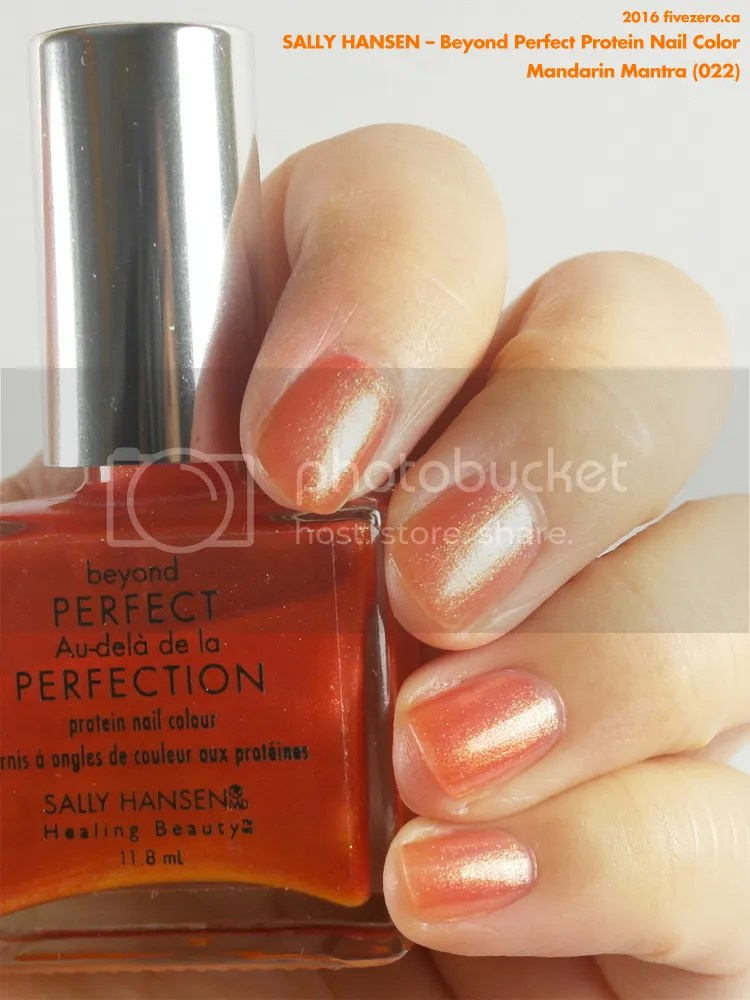 Sally Hansen Beyond Perfect Protein Nail Color in Mandarin Mantra, swatch
