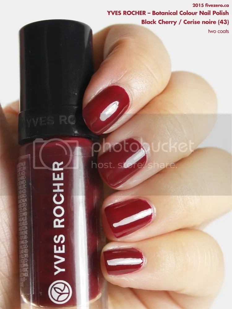 Yves Rocher Botanical Colour Nail Polish in Black Cherry / Cerise noire, swatch 2 coats