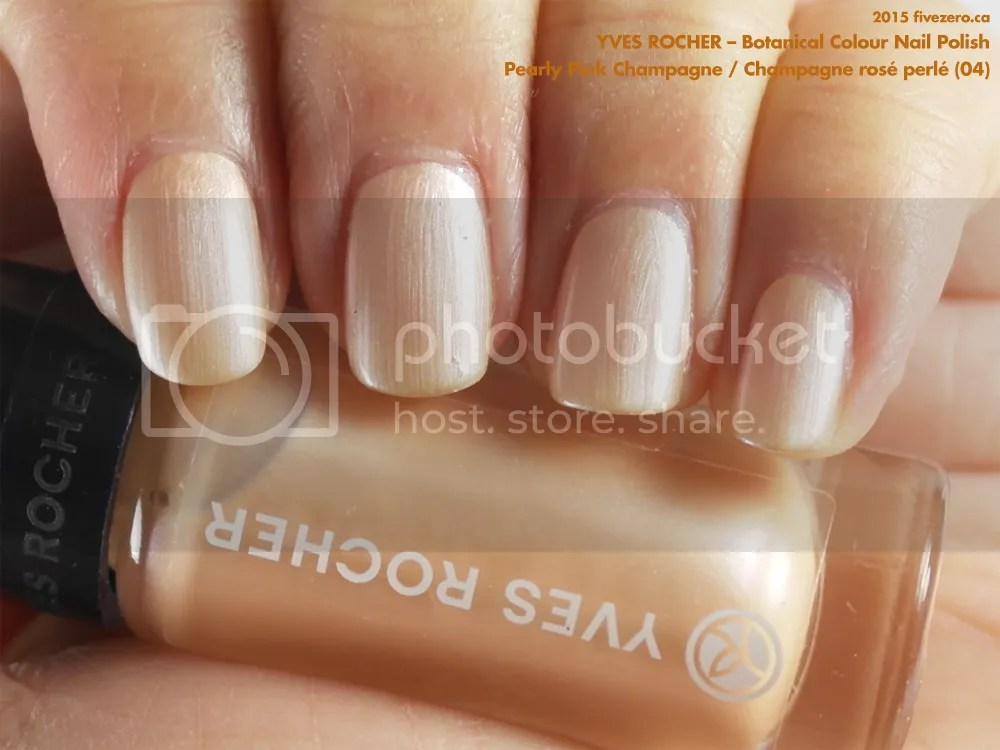 Yves Rocher Botanical Colour Nail Polish in Pearly Pink Champagne / Champagne rosé perlé, swatch