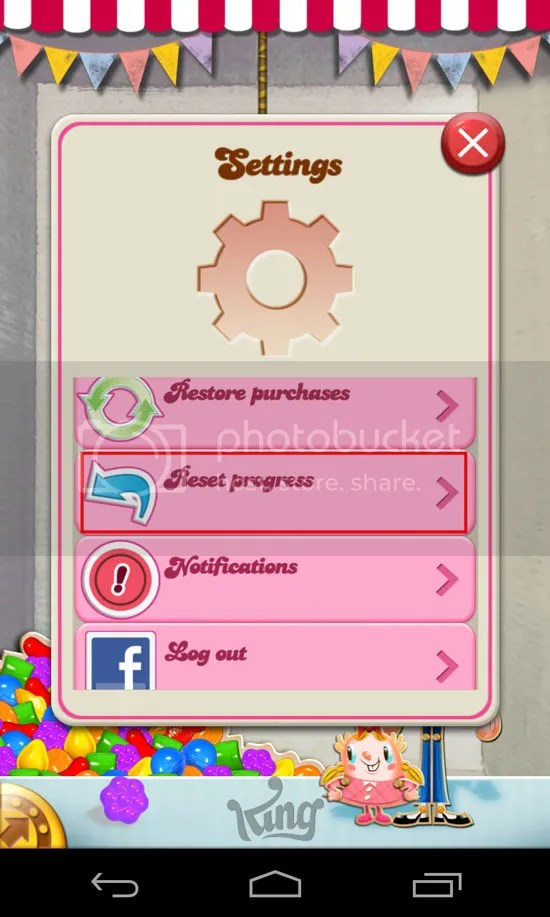 How to reset progress level in Candy Crush Saga using iOS or android devices