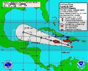 Hurricane Dean 3 day projected path