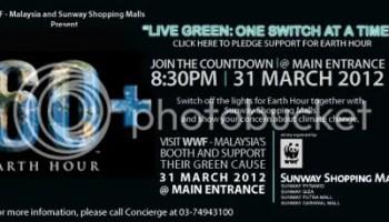 Sambutan Earth Hour 2012 di Sunway Pyramid