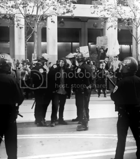 One Arrest, Two dozen San Francisco cops arrest one non-violent OccupySF protester Dec. 7, 2011 on Market St.