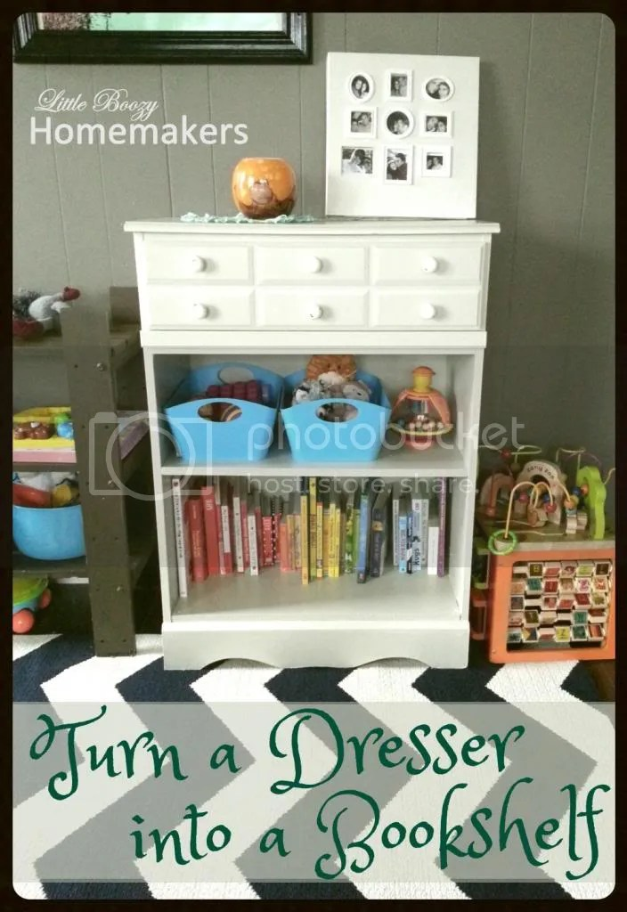 Turn a dresser into a bookshelf