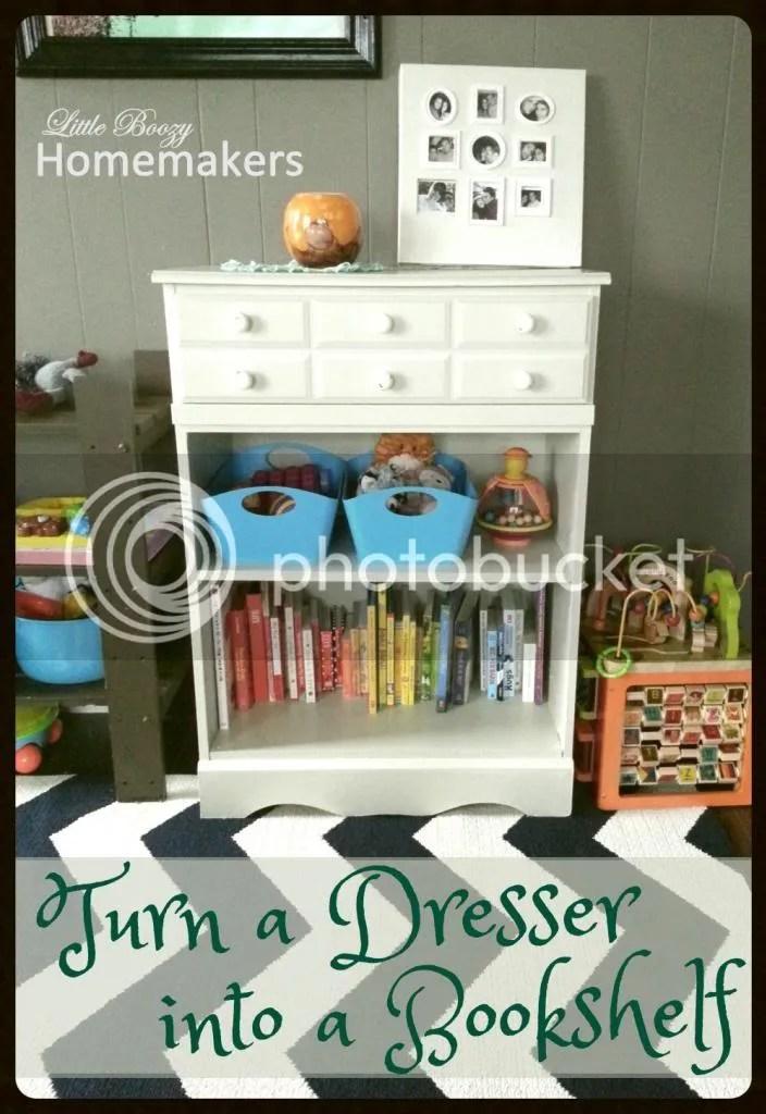Turn a dresser into a bookshelf