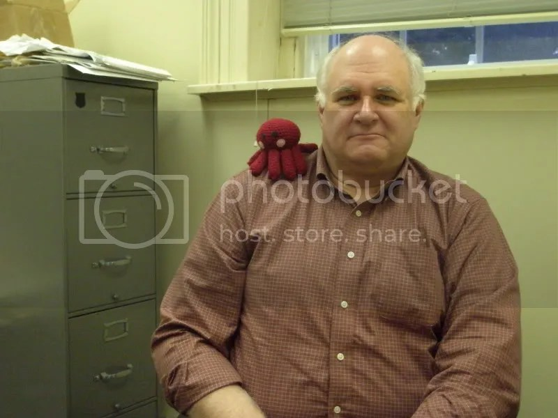 Dr. Mahoney, in his office, with the octopus.
