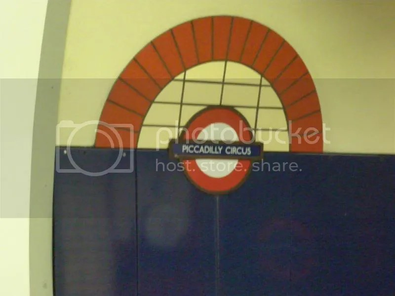 The wall in the Piccadilly Circus Tube station.