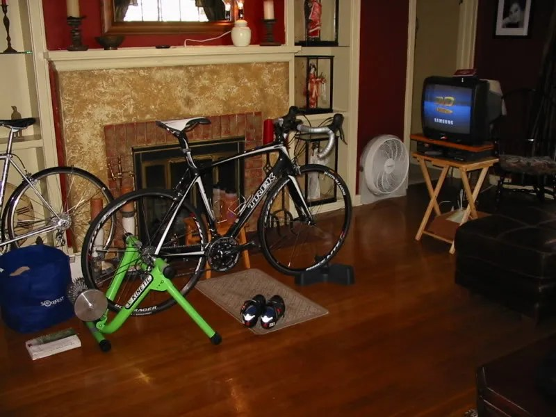 Picture of stationary trainer and TV