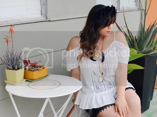 Curvy Girl Chic Plus Size Fashion Blog Coachella Festival Fashion Lookbook Forever 21 Plus Off Shoulder Top and Shorts