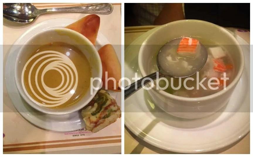 Lentil soup and Seafood soup.