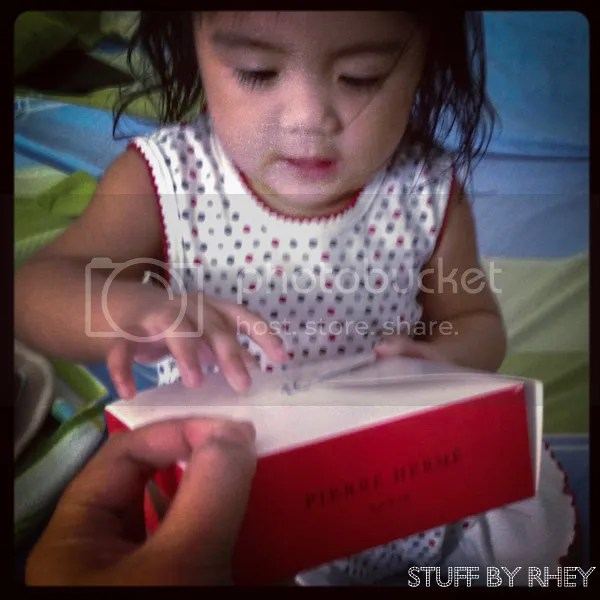 Aria trying to get a hold of my Pierre Herme box