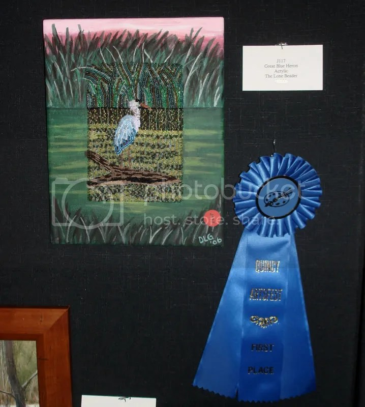 11th Annual Quincy ArtsFest 2008 bead embroidery artist Boston MA Great Blue Heron painting