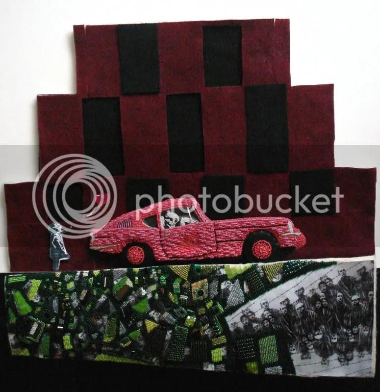 Banksy birthday balloon girl. Brick Lane, London. Graffiti wall. Pink Car. Triumph GT6.
