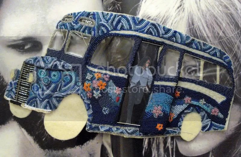 beaded magic blue  British bus who bead embroidery psychedelic pop artist Boston art