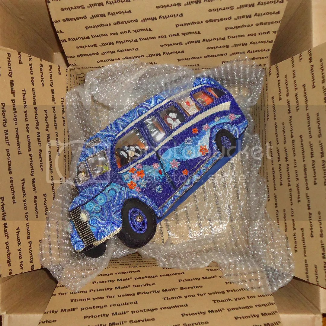Psychedelic Blue Beaded Bus Doors Jim Morrison Bead Embroidery Art collector Etsy sold item