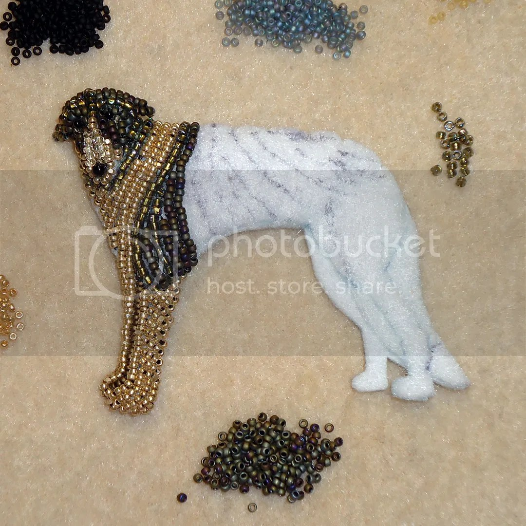 Bead embroidery dog pet portrait gold brindle borzoi russian wolfhound etsy amazon handmade the lone beader